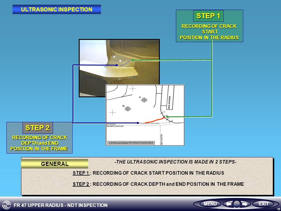 FR 47 UPPER RADIUS - NDT INSPECTION 19 EXITMENU GENERAL ULTRASONIC INSPECTION RECORDING OF CRACK START START POSITION IN THE RADIUS POSITION IN THE RADIUS STEP 1 RECORDING OF CRACK DEPTH and END DEPTH and END POSITION IN THE FRAME POSITION IN THE FRAME STEP 2 -THE ULTRASONIC INSPECTION IS MADE IN 2 STEPS- STEP 1 : RECORDING OF CRACK START POSITION IN THE RADIUS STEP 2 : RECORDING OF CRACK DEPTH and END POSITION IN THE FRAME