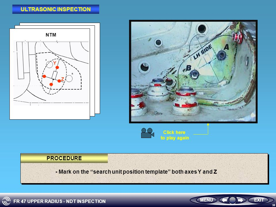 FR 47 UPPER RADIUS - NDT INSPECTION 38 EXITMENU - Mark on the search unit position template both axes Y and Z PROCEDURE ULTRASONIC INSPECTION NTM Y Z Click here to play again