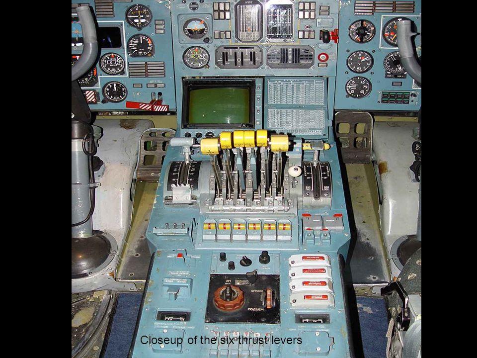 Closeup of the six thrust levers