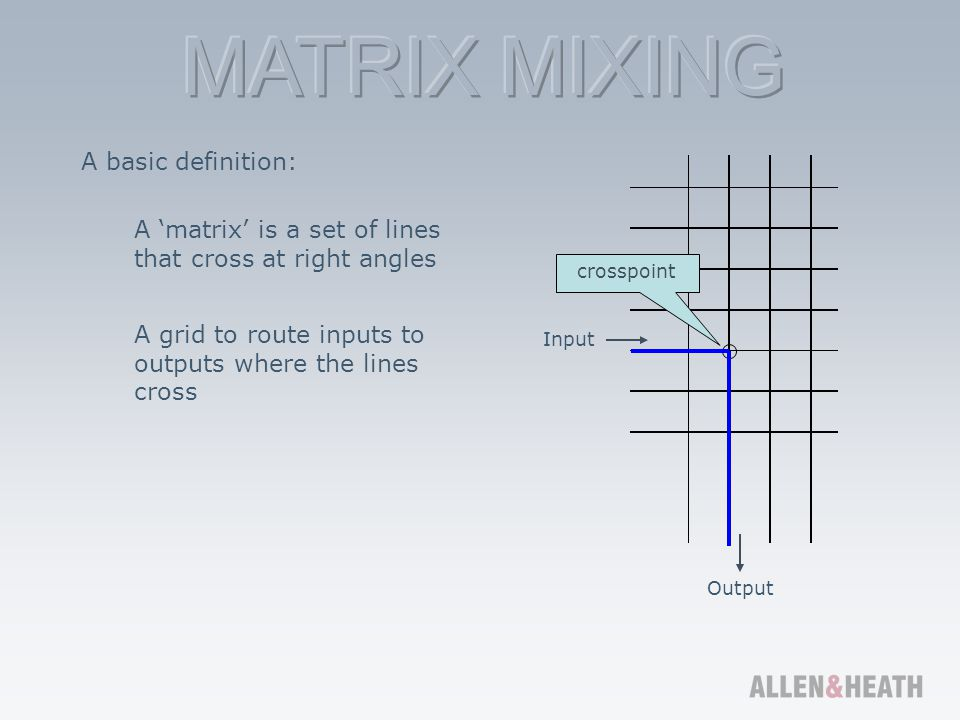 Matrix mixer Adds processing such as speaker crossovers, delay and time alignment, room and device EQ, noise gates, compression and protection limiting Crosspoint matrix