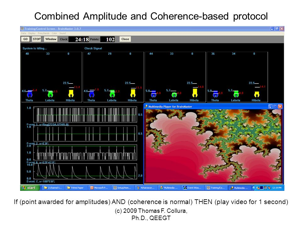 Combined Amplitude and Coherence-based protocol If (point awarded for amplitudes) AND (coherence is normal) THEN (play video for 1 second) (c) 2009 Th