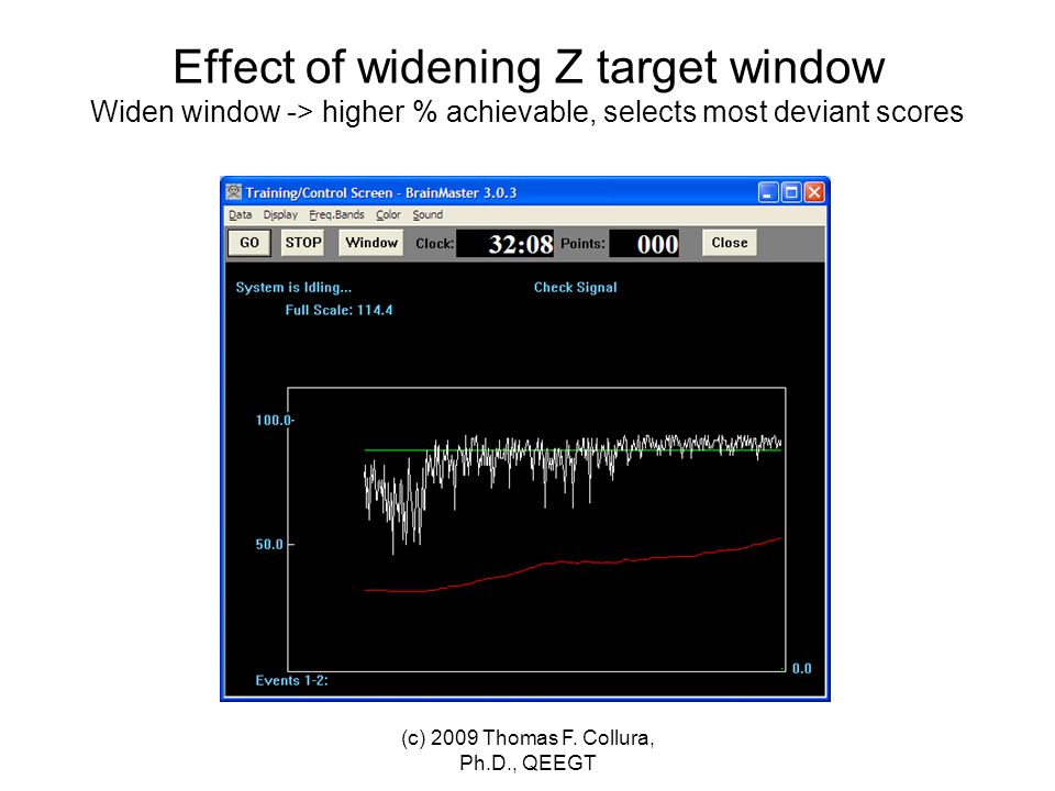 Effect of widening Z target window Widen window -> higher % achievable, selects most deviant scores (c) 2009 Thomas F. Collura, Ph.D., QEEGT
