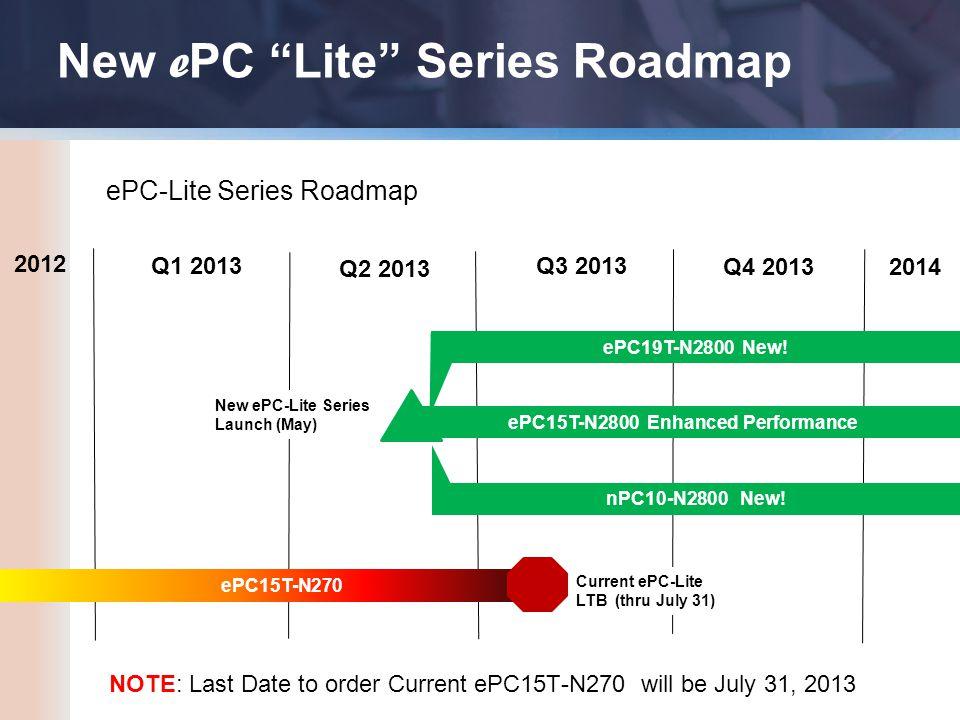New e PC Lite Series Roadmap ePC15T-N270 Q1 2013 Q2 2013 Q3 2013 Q4 2013 ePC15T-N2800 Enhanced Performance ePC19T-N2800 New.