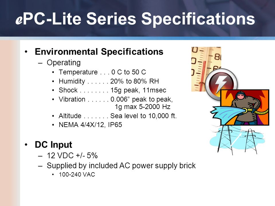 19.0 Environmental Specifications –Operating Temperature...