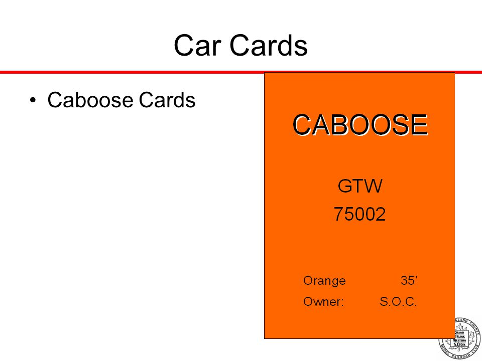 Car Cards Caboose Cards