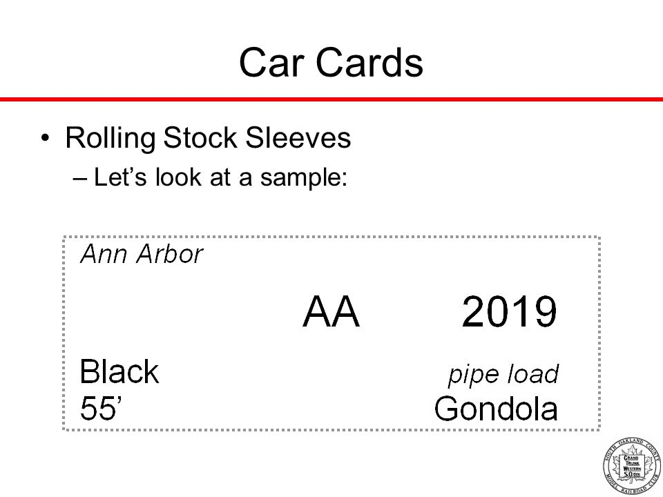 Car Cards Rolling Stock Sleeves –Let's look at a sample: