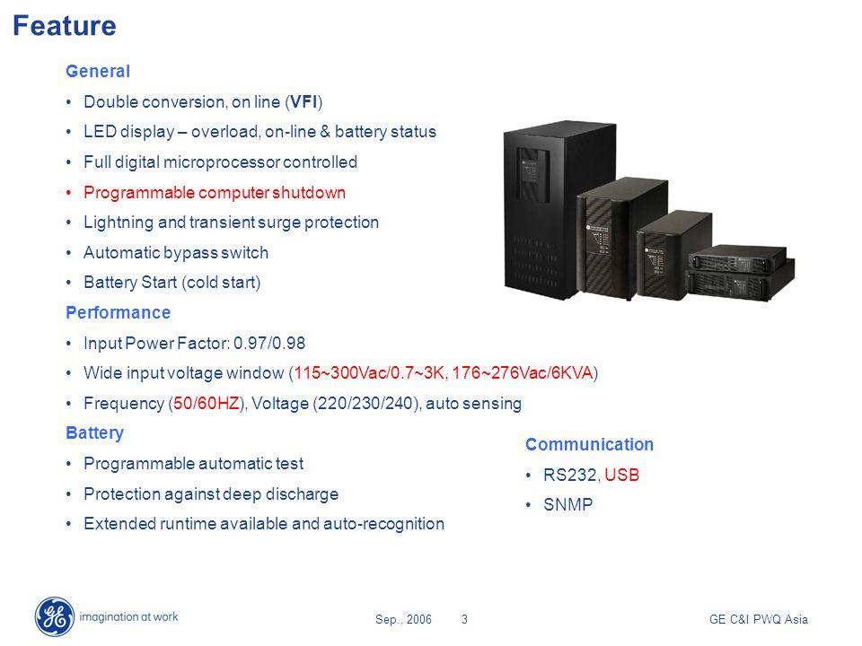 GE C&I PWQ AsiaSep., 20064 Cabinet view 700/1000VA Front Panel 2000/3000VA6000V A 700/1000VA (2U) 2000/3000VA (2U) 6000VA (3U)