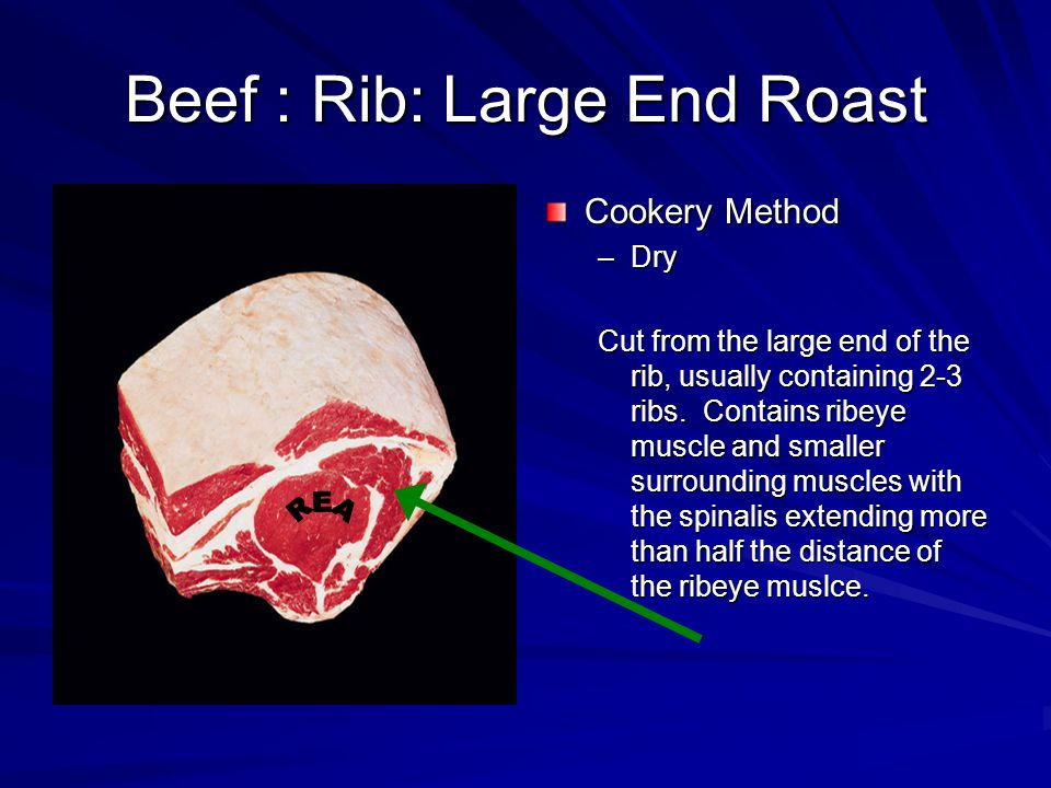 Beef : Rib: Large End Roast Cookery Method –Dry Cut from the large end of the rib, usually containing 2-3 ribs.