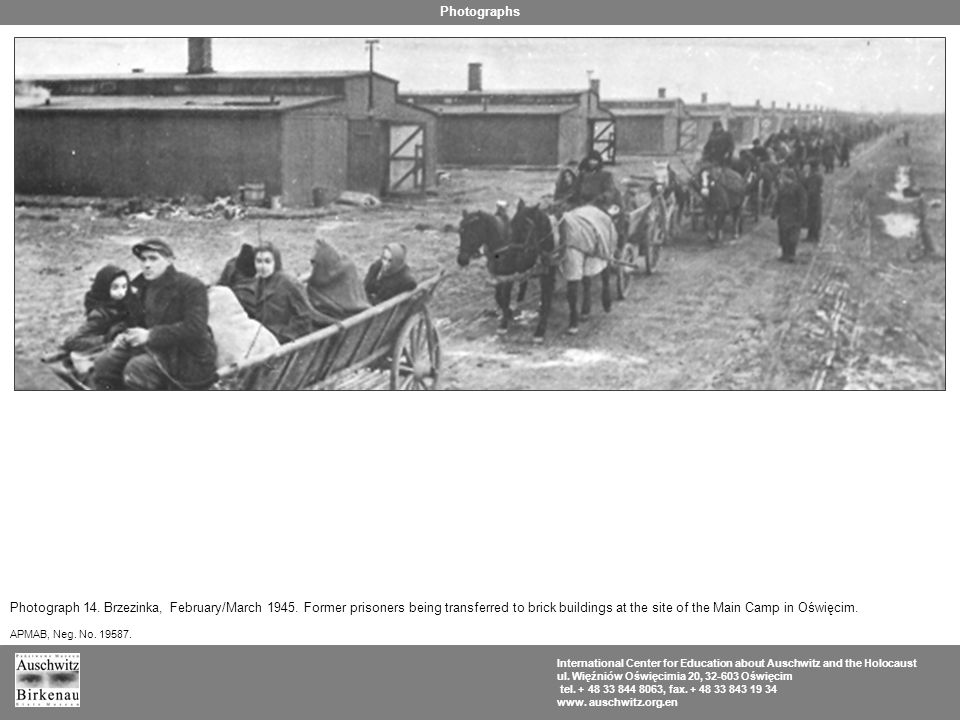 Photograph 14. Brzezinka, February/March 1945. Former prisoners being transferred to brick buildings at the site of the Main Camp in Oświęcim. APMAB,