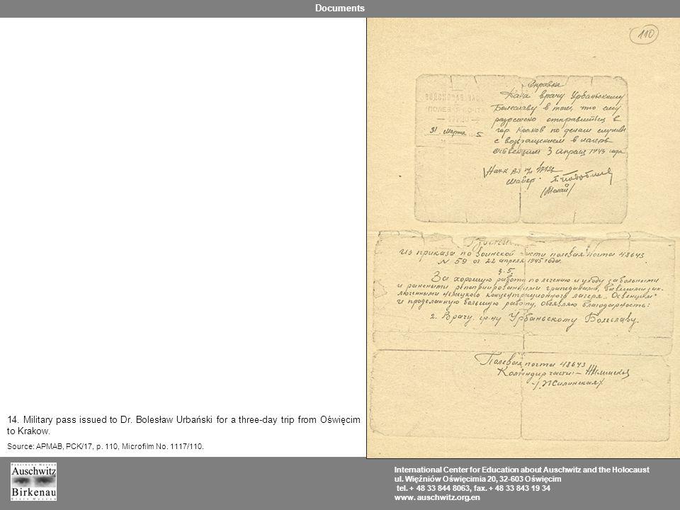 14. Military pass issued to Dr. Bolesław Urbański for a three-day trip from Oświęcim to Krakow. Source: APMAB, PCK/17, p. 110, Microfilm No. 1117/110.