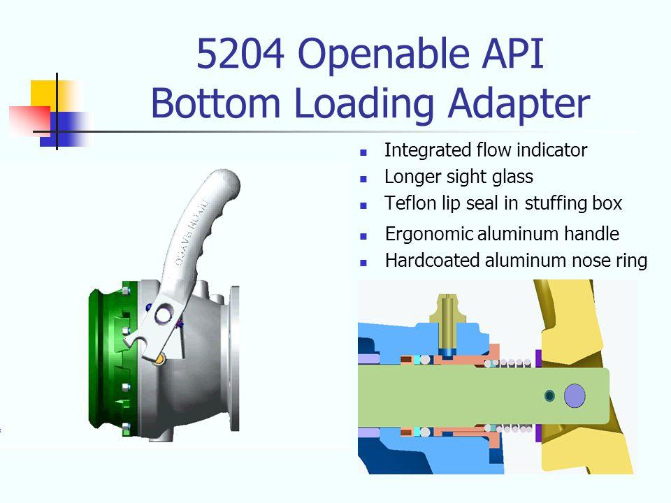 5204 Openable API Bottom Loading Adapter Integrated flow indicator Longer sight glass Teflon lip seal in stuffing box Ergonomic aluminum handle Hardcoated aluminum nose ring