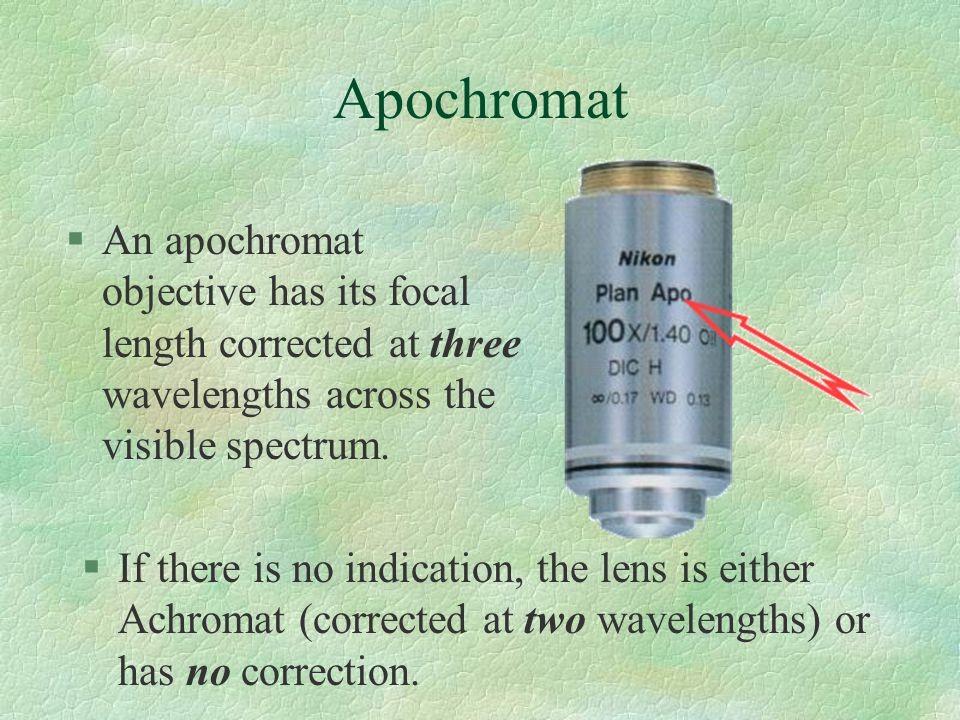 Apochromat §If there is no indication, the lens is either Achromat (corrected at two wavelengths) or has no correction.