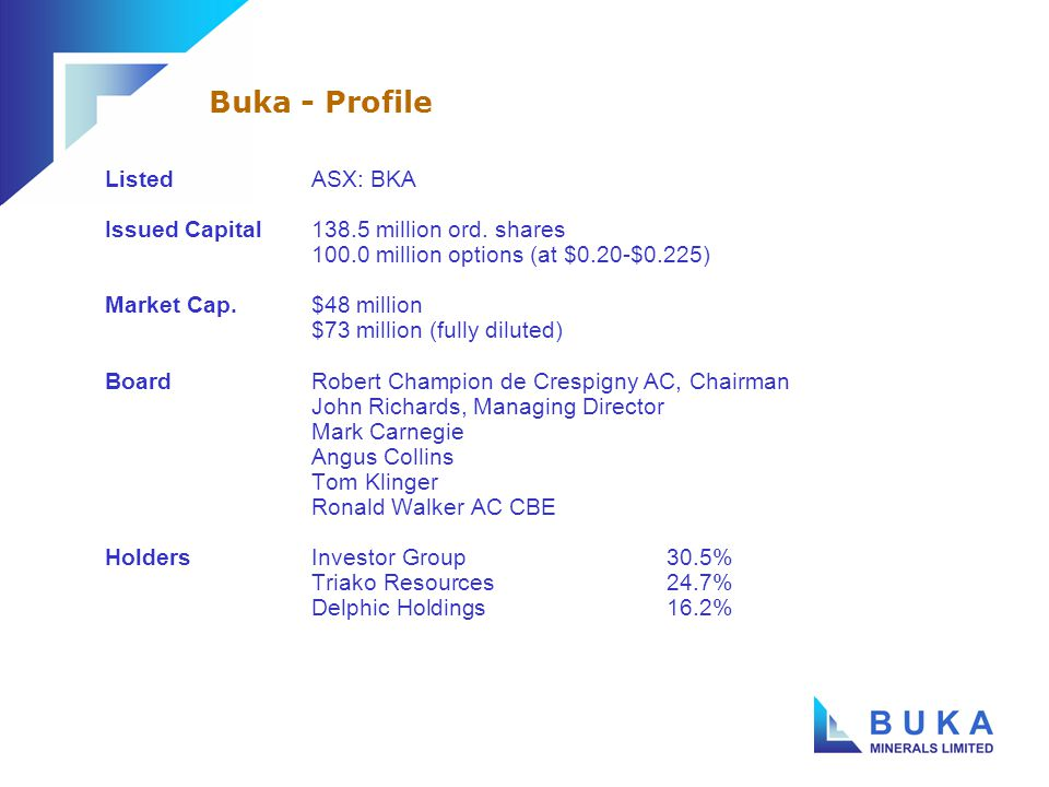 ListedASX: BKA Issued Capital138.5 million ord.