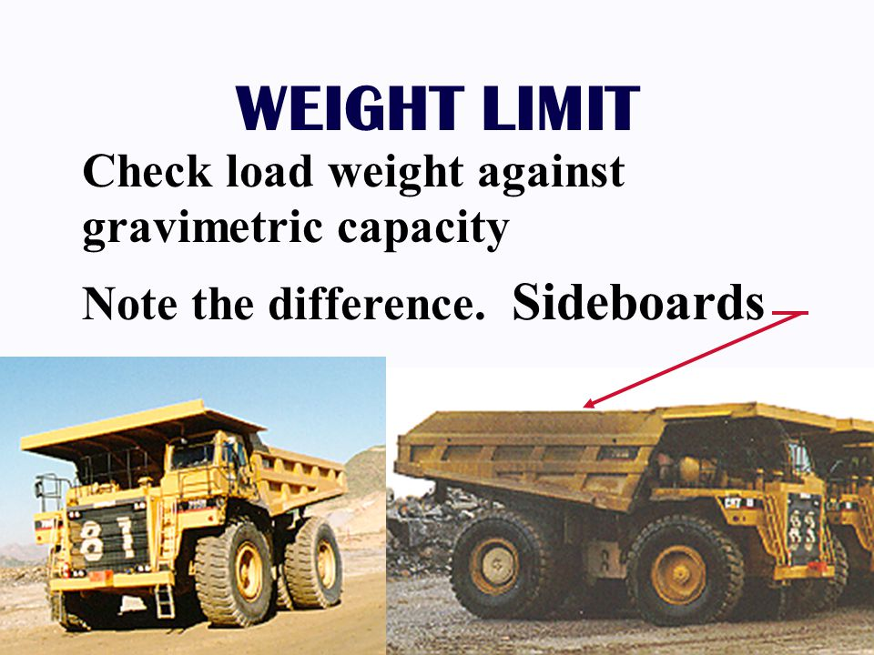 WEIGHT LIMIT Check load weight against gravimetric capacity Note the difference. Sideboards