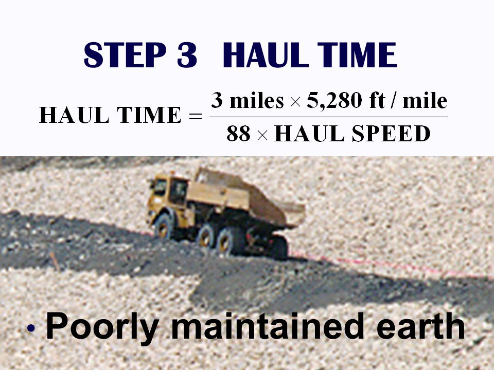 STEP 3 HAUL TIME DUMP 1.25% GRADE Poorly maintained earth