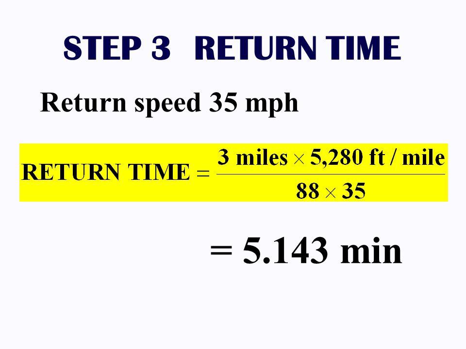 STEP 3 RETURN TIME Return speed 35 mph = 5.143 min