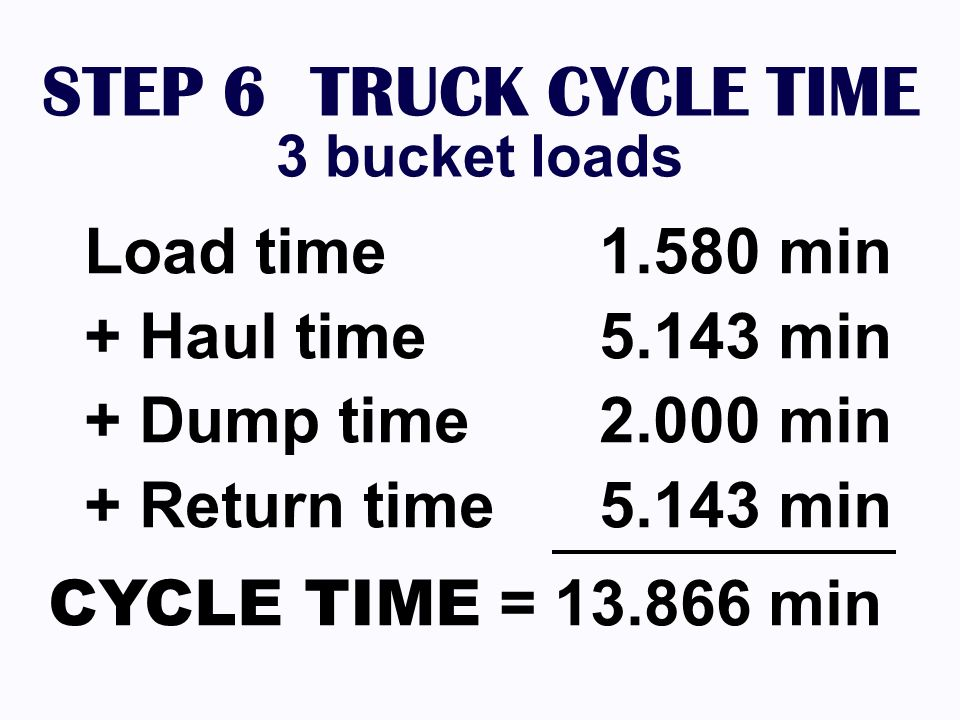 STEP 6 TRUCK CYCLE TIME 3 bucket loads Load time 1.580 min + Haul time 5.143 min + Dump time 2.000 min + Return time 5.143 min CYCLE TIME = 13.866 min