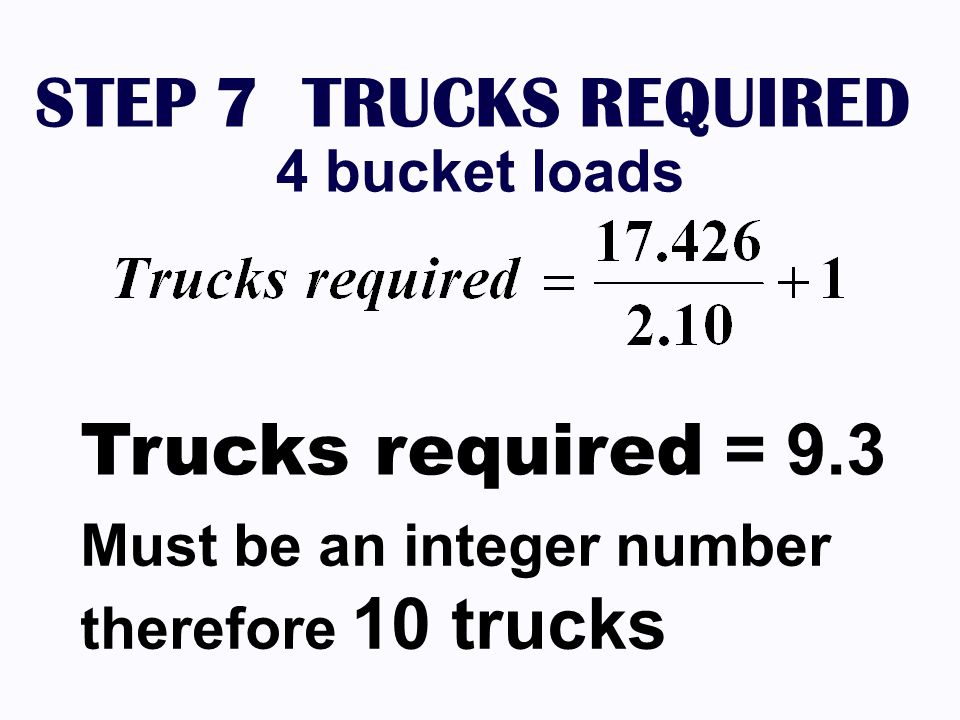 STEP 7 TRUCKS REQUIRED 4 bucket loads Trucks required = 9.3 Must be an integer number therefore 10 trucks