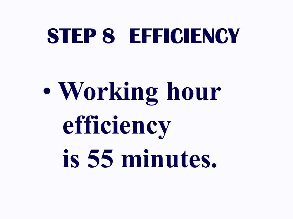 STEP 8 EFFICIENCY Working hour efficiency is 55 minutes.