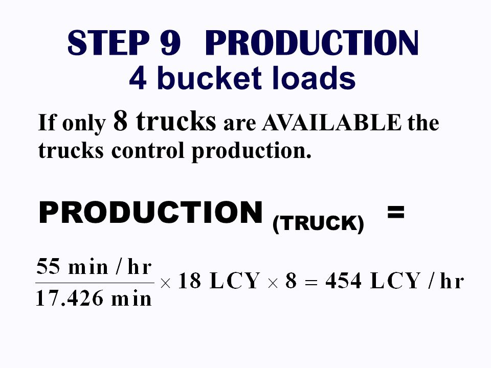 STEP 9 PRODUCTION 4 bucket loads If only 8 trucks are AVAILABLE the trucks control production. PRODUCTION (TRUCK) =