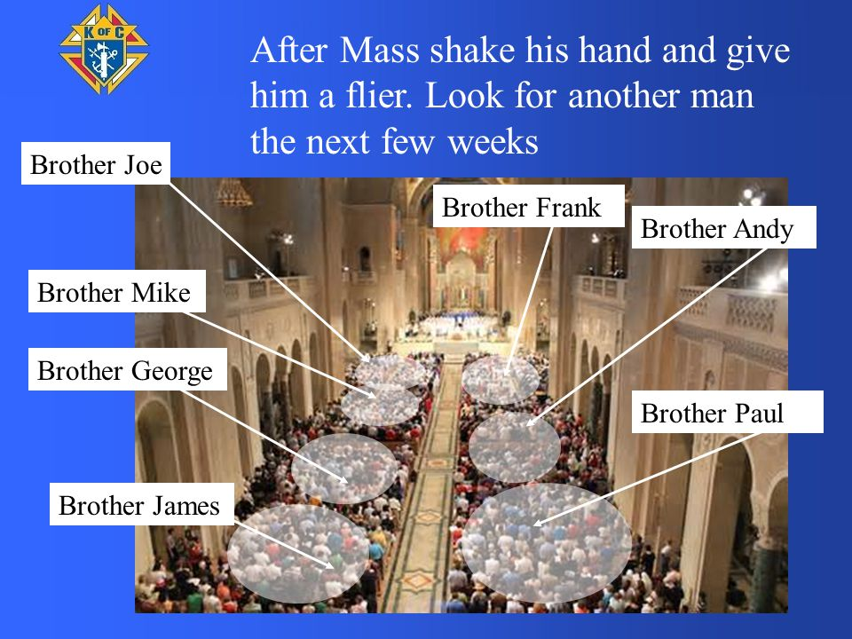 Brother Joe Brother Mike Brother Andy Brother George Brother Paul Brother James Brother Frank After Mass shake his hand and give him a flier.