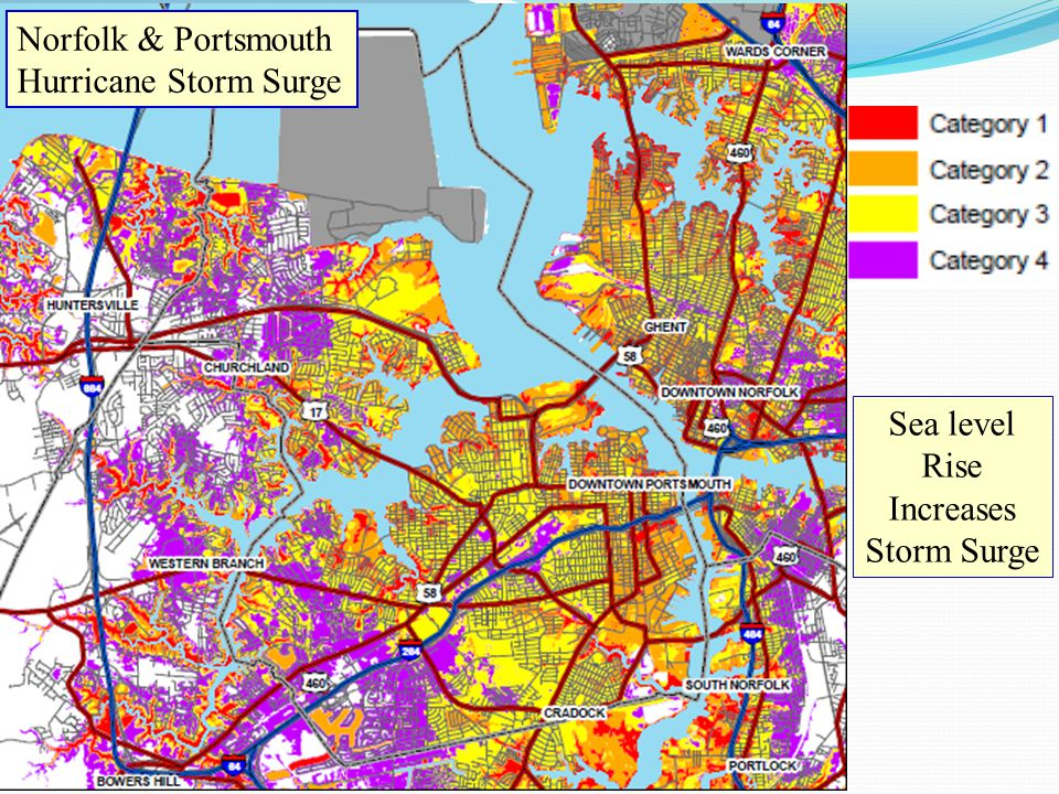 Norfolk & Portsmouth Hurricane Storm Surge Sea level Rise Increases Storm Surge