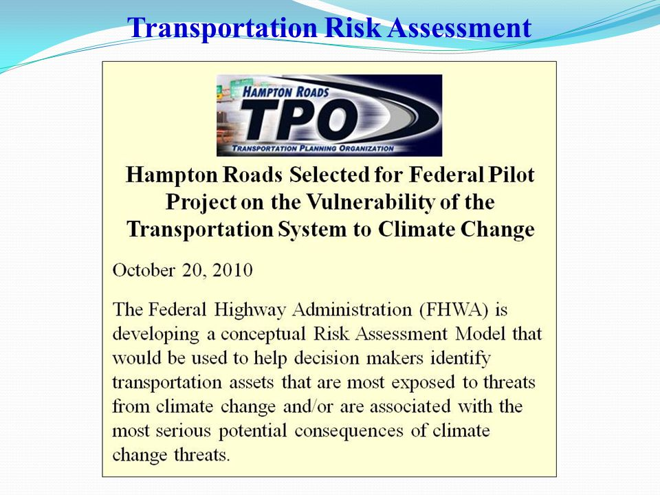 Transportation Risk Assessment