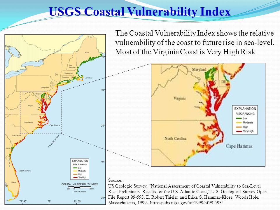The Coastal Vulnerability Index shows the relative vulnerability of the coast to future rise in sea-level.