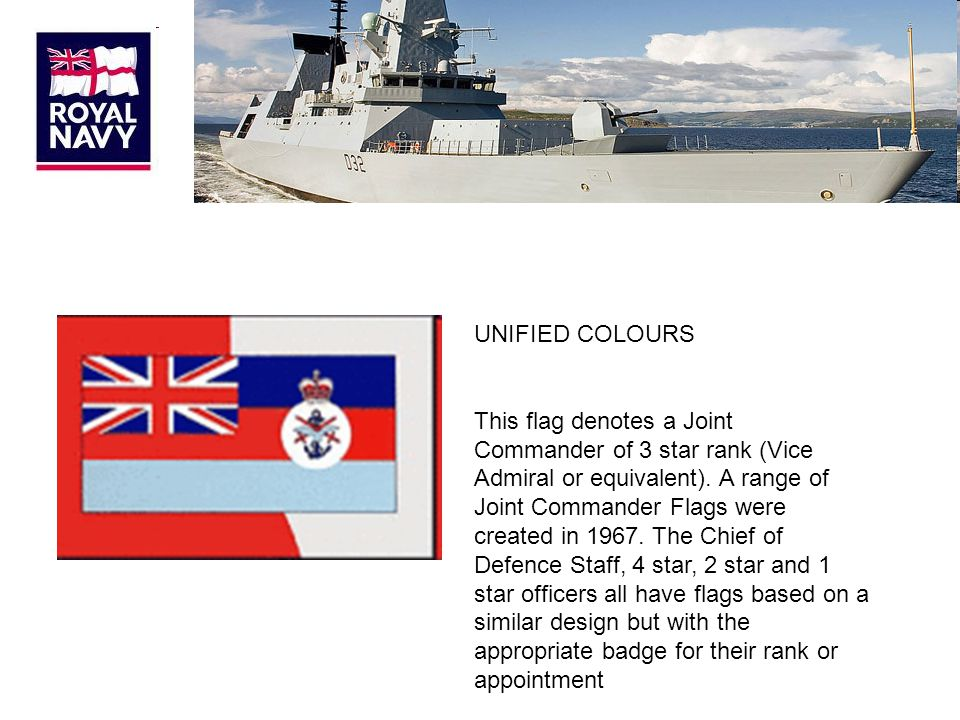 UNIFIED COLOURS This flag denotes a Joint Commander of 3 star rank (Vice Admiral or equivalent).