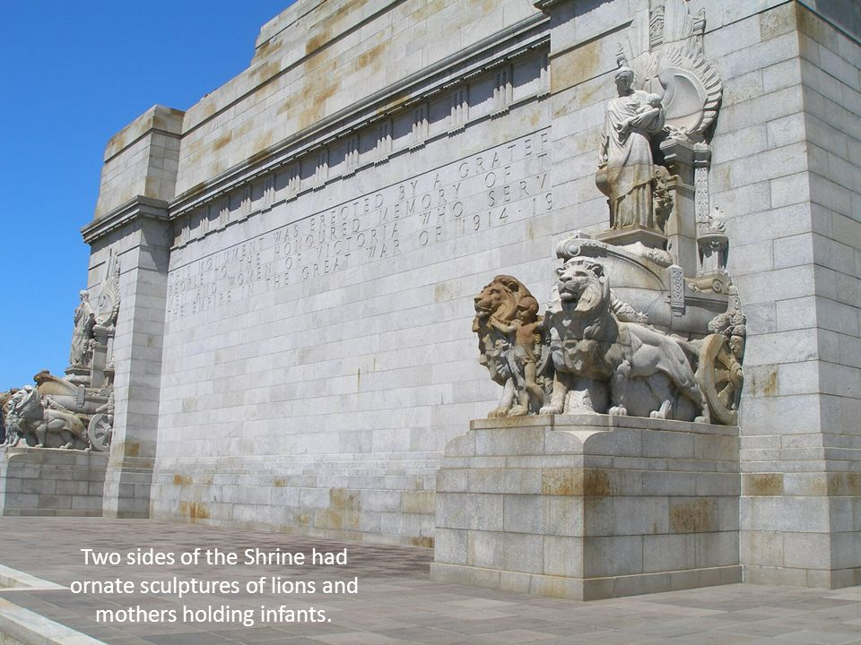 Two sides of the Shrine had ornate sculptures of lions and mothers holding infants.