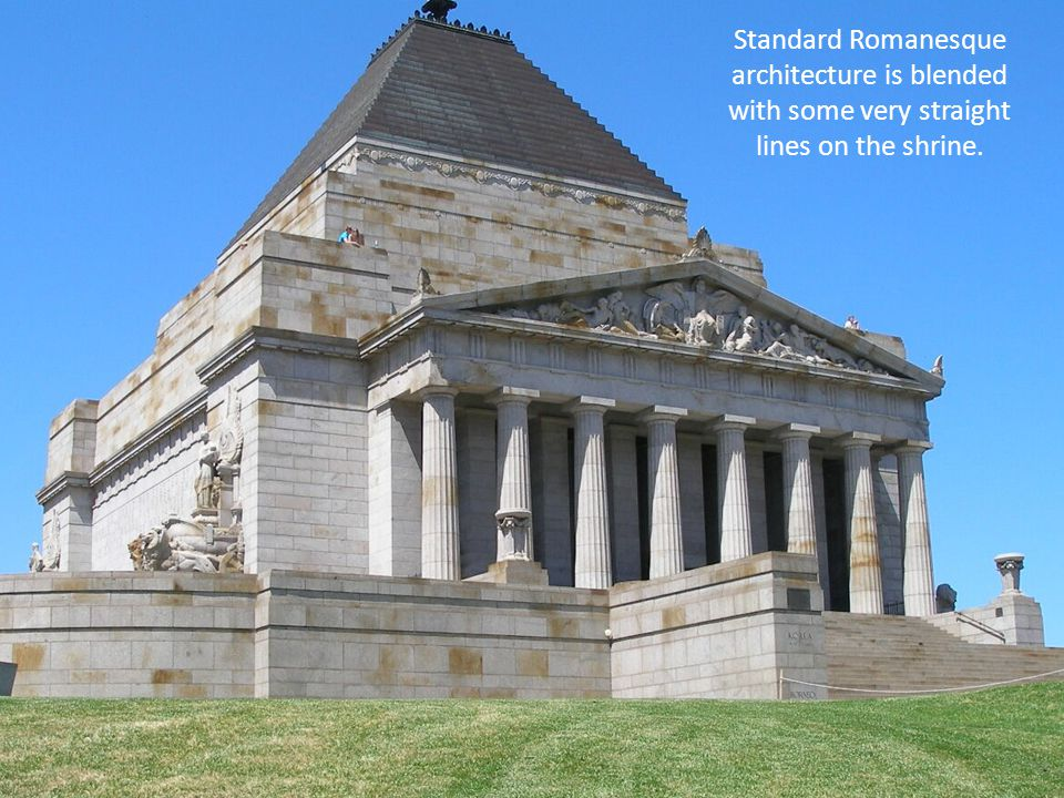 Standard Romanesque architecture is blended with some very straight lines on the shrine.
