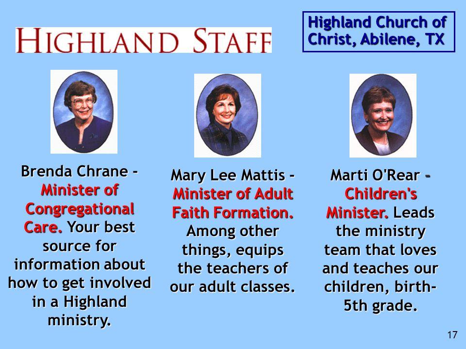 Brenda Chrane - Minister of Congregational Care.