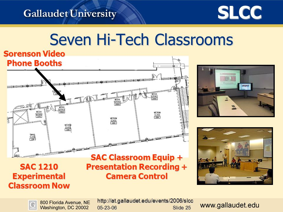SLCC 05-23-06 http://at.gallaudet.edu/events/2006/slcc Slide 25 Seven Hi-Tech Classrooms Sorenson Video Phone Booths SAC Classroom Equip + Presentation Recording + Camera Control SAC 1210 Experimental Classroom Now