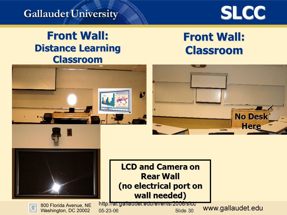 SLCC 05-23-06 http://at.gallaudet.edu/events/2006/slcc Slide 30 Front Wall: Distance Learning Classroom Front Wall: Classroom LCD and Camera on Rear Wall (no electrical port on wall needed) No Desk Here