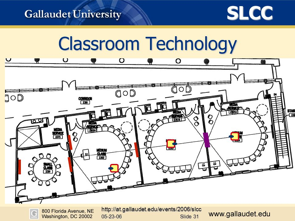 SLCC 05-23-06 http://at.gallaudet.edu/events/2006/slcc Slide 31 Classroom Technology