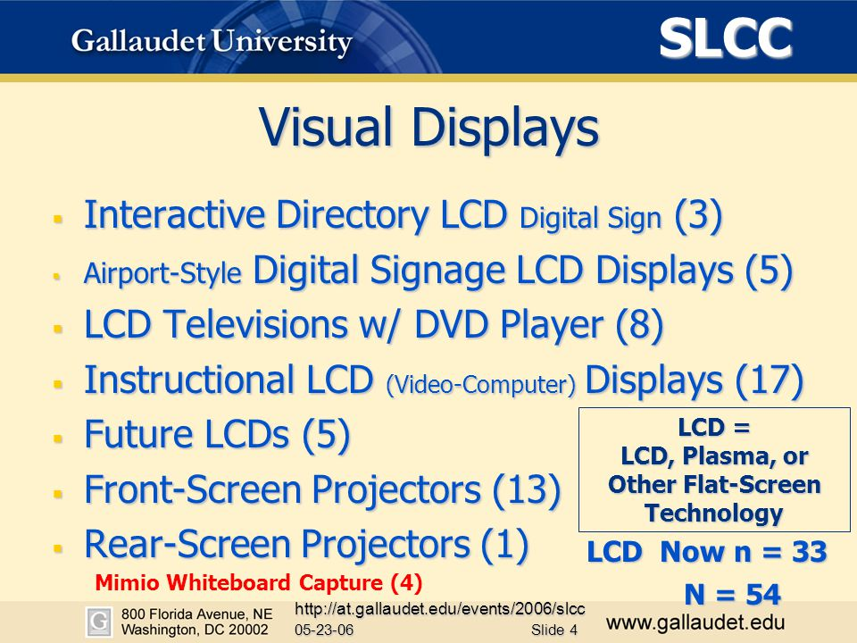 SLCC 05-23-06 http://at.gallaudet.edu/events/2006/slcc Slide 4 Visual Displays  Interactive Directory LCD Digital Sign (3)  Airport-Style Digital Signage LCD Displays (5)  LCD Televisions w/ DVD Player (8)  Instructional LCD (Video-Computer) Displays (17)  Future LCDs (5)  Front-Screen Projectors (13)  Rear-Screen Projectors (1) LCD = LCD, Plasma, or Other Flat-Screen Technology N = 54 Mimio Whiteboard Capture (4) LCD Now n = 33