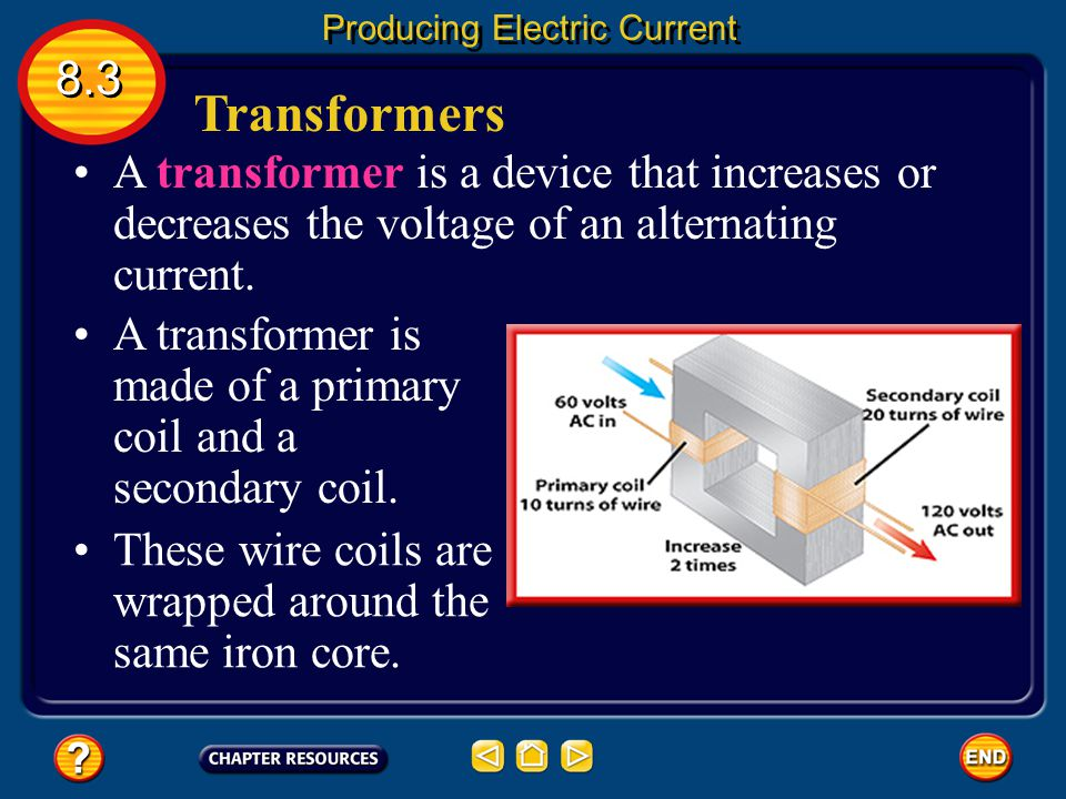 Transmitting Electrical Energy 8.3 Producing Electric Current One way to reduce the heat produced in a power line is to transmit the electrical energy