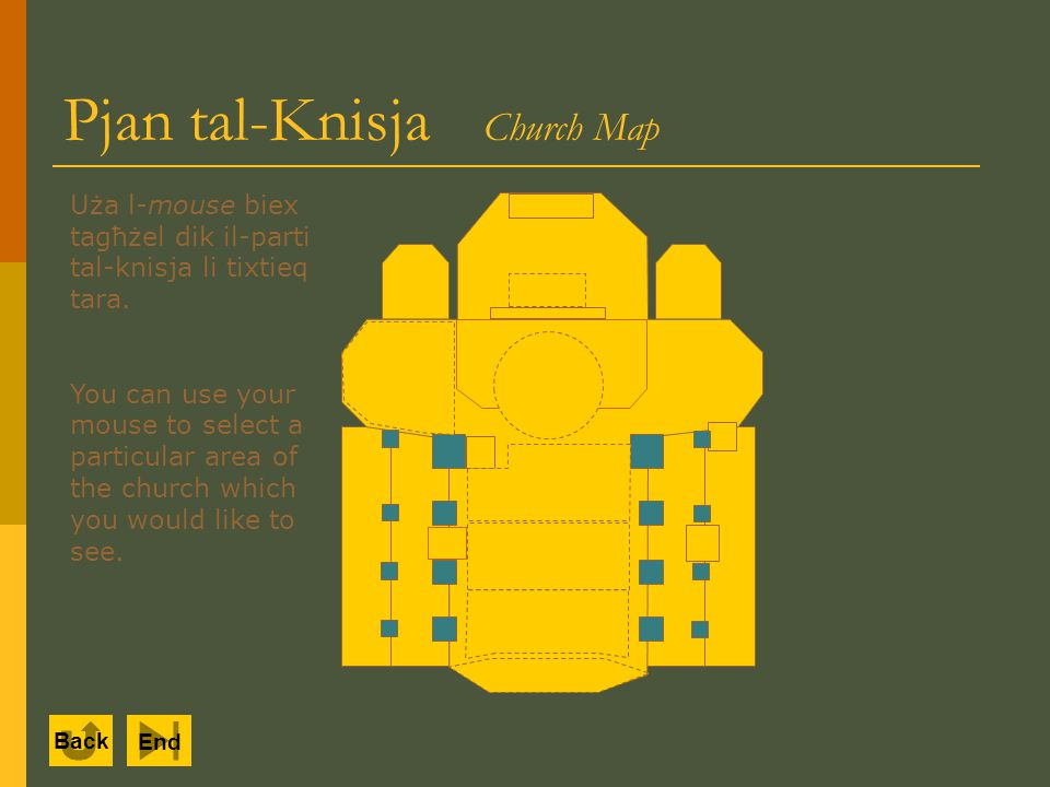Back End Pjan tal-Knisja Church Map Uża l-mouse biex tagħżel dik il-parti tal-knisja li tixtieq tara.