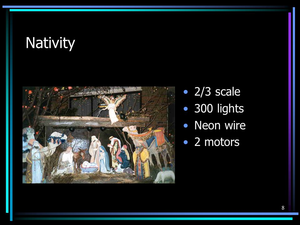 8 Nativity 2/3 scale 300 lights Neon wire 2 motors