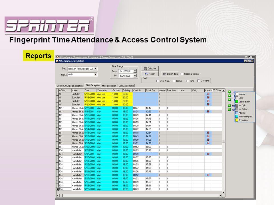 Fingerprint Time Attendance & Access Control System Reports