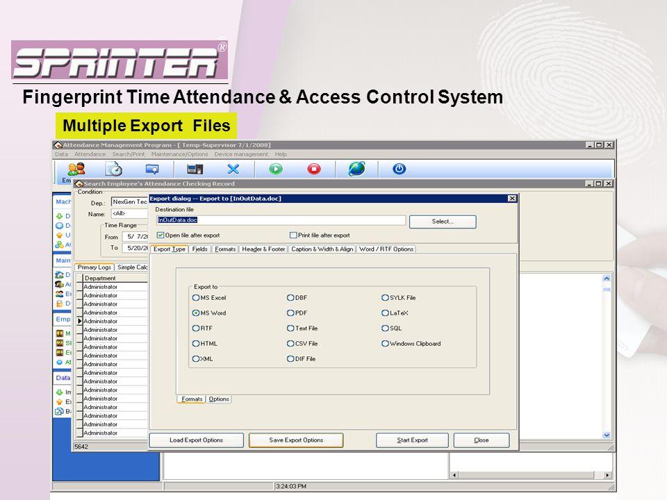 Fingerprint Time Attendance & Access Control System Multiple Export Files
