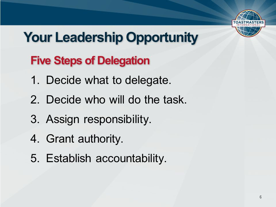 1.Decide what to delegate. 2.Decide who will do the task. 3.Assign responsibility. 4.Grant authority. 5.Establish accountability. 6 Your Leadership Op