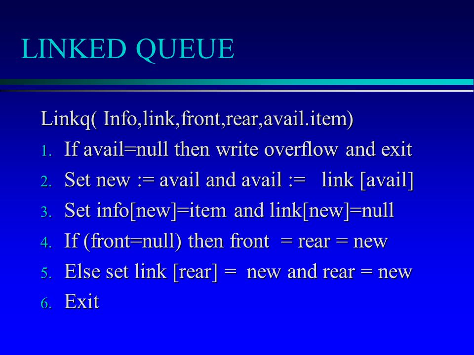 LINKED QUEUE Linkq( Info,link,front,rear,avail.item) 1.