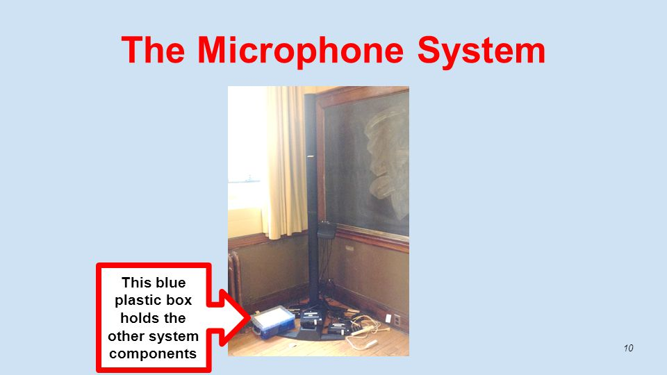The Microphone System 10 This blue plastic box holds the other system components