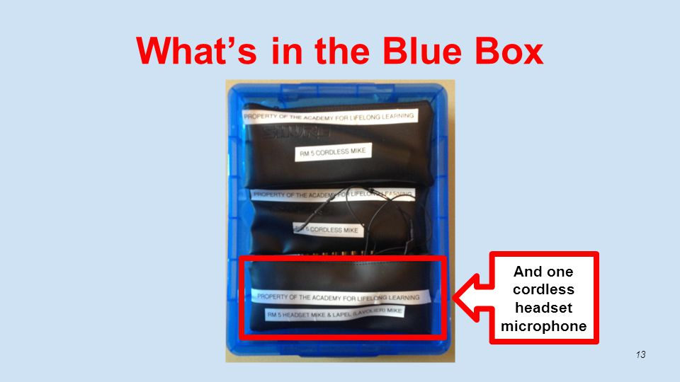 What's in the Blue Box 13 And one cordless headset microphone