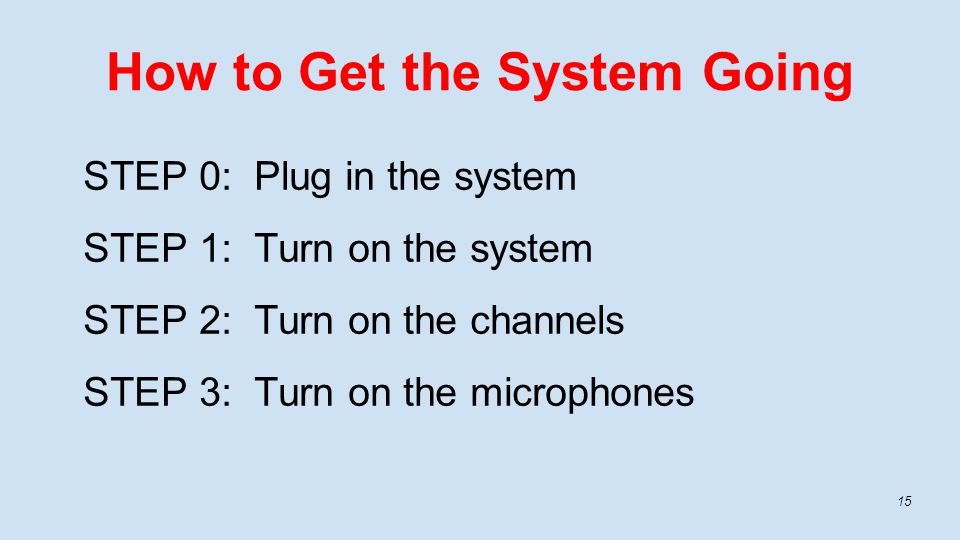 How to Get the System Going STEP 0: Plug in the system STEP 1: Turn on the system STEP 2: Turn on the channels STEP 3: Turn on the microphones 15