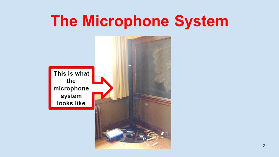 The Microphone System 2 This is what the microphone system looks like