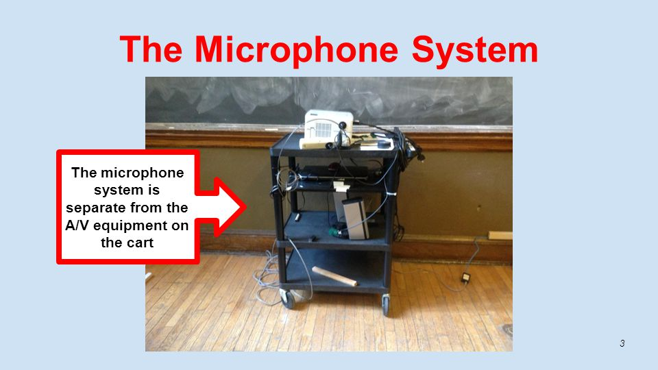 The Microphone System The microphone system is separate from the A/V equipment on the cart 3