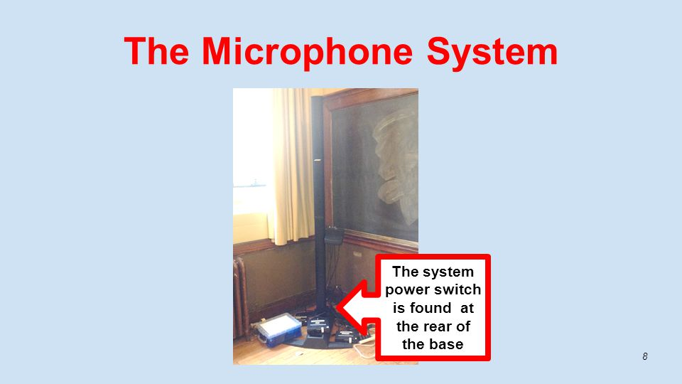 The Microphone System 8 The system power switch is found at the rear of the base