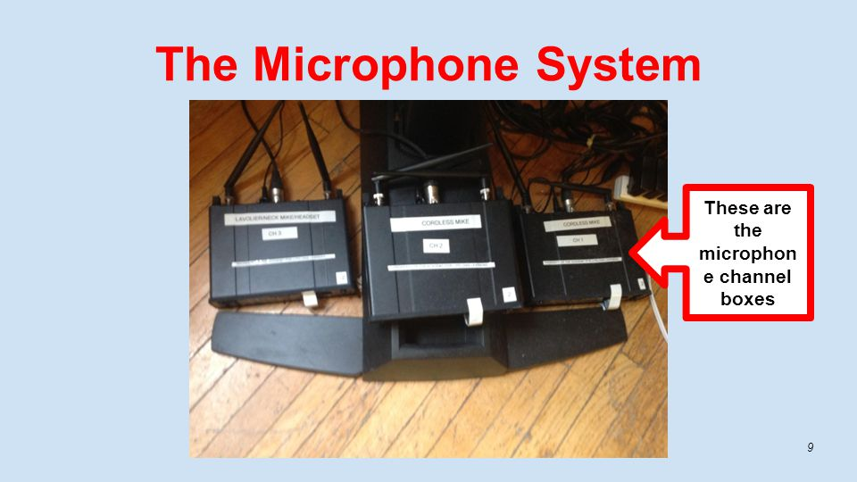 The Microphone System 9 These are the microphon e channel boxes
